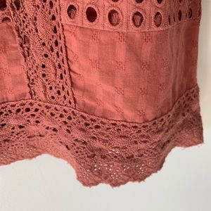 Sundance Tops - Sundance Boho Dusty Rose Eyelet Blouse Size Small